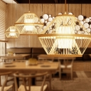 Single Light Hand Woven Ceiling Light Chinese Style Bamboo Pendant Lamp with Inner Fabric Shade in Natural Wood