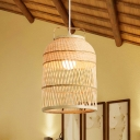 Woven Basket Pendant Light Single Light Asian Suspended Light in Wood for Tea Room