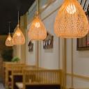 Bamboo Teardrop Hanging Ceiling Light Asian Style 1 Bulb Handwoven Pendant Lighting in Beige