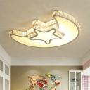 Star Moon Bedroom Flush Light Simple Style Crystal LED White Ceiling Light Fixture