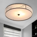 3/5 Lights Bedroom Ceiling Light Fixture Modern White Flush Mount with Drum Crystal Shade, 14
