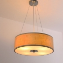 Height Adjustable Drum Pendant Light with Diffuser Bamboo Hanging Light in Brown