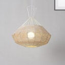 Nordic Caged Pendant Light with Diamond Shade 1 Light Metal and Rattan Hanging Lamp in White, 14