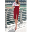 New Trendy Plain Sexy Split Front Knee Length Tight Suspender Dress