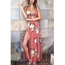 Pink Glamorous Women's Sleeveless Deep V-Neck Floral Print Open Back Split Side Maxi Beach Flowy Dress