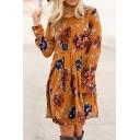 Elegant Ladies Long Sleeve Round Neck Floral Print Pleated Loose Fit Short Swing Dress