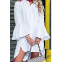 White Trendy Girls' Long Sleeve Stand Collar Button Down Ruffled Trim Slit Side Short Swing Shirt Dress