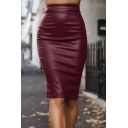 Women's Sexy Plain High Waist Zipper Back Slit Back Leather Midi Bodycon Skirt