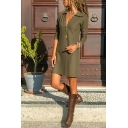 Trendy Cool Girls' Long Sleeve Deep V-Neck Mini Shift Shirt Dress in Army Green
