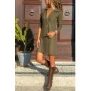 Trendy Cool Girls' Long Sleeve Deep V-Neck Mini Shift Shirt Dress in Army Green
