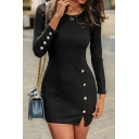 Plain Elegant Ladies' Long Sleeve Button Embellished Slit Side Knit Short Bodycon T Shirt Dress