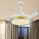 Round Indoor Fan Lighting Contemporary Metallic 8-Blade LED Semi Mount Ceiling Lamp in White