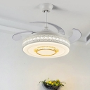 Metallic Drum Semi Mount Light Nordic Style White LED Ceiling Fan with Remote Control/Wall Control/Remote+Wall Control