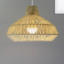 Asian Dome Hanging Pendant Light 1 Light Rope Ceiling Hanging Lamp in Beige for Living Room