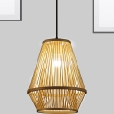 Wooden Cage Pendant Lamp Asian Style Single Light Indoor Hanging Ceiling Light for Restaurant
