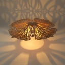 Rattan Hanging Light with Saucer Shade 1 Head Asian Style Pendant Lighting for Dining Room