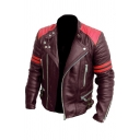 Mens Popular Color Block Snap Collar Stripe Long Sleeve Zip Placket PU Leather Biker Jacket