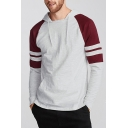 Unique Contrast Stripes Printed Long Sleeve Thin Fitted Hoodie for Men