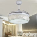 Modern Stylish Hollowed LED Ceiling Fan Steel White Remote Control/Wall Control/Frequency Convertible Semi Flushmount for Bedroom