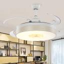 Whisper Quiet Drum LED Ceiling Fan Modern Style Acrylic 6 Wind Speed 8 Reversible Blade Semi Flush Mount Light in White