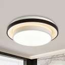 Contemporary Round Flush Light Black and White Iron Bedroom LED Ceiling Lamp with Acrylic Diffuser, 19.5