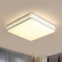 Square Box Metallic Flush Ceiling Light Contemporary Integrated LED White Flushmount