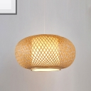 Natural Wood/Coffee Brown Lantern Ceiling Pendant Light Chinese Style 1 Light Indoor Woven Hanging Light