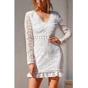 Women' Pretty White Long Sleeve V-Neck Hollow Back Floral Embroidered Sheer Lace Patched Ruffled Trim Short Tight A-Line Dress