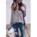 Womens Simple Plain Long Sleeve V-Neck Button Front Knit Cardigan Coat