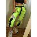 Female Sport Street Elastic Waist Contrasted Sheer Mesh Patched Cuffed Relaxed Fit Trousers in Neon Green