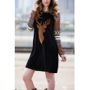 Casual Cute Girls' Long Sleeve Hooded Elk Floral Print Patched Black Short A-Line Sweatshirt Dress