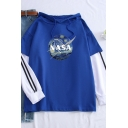 Womens Simple NASA Logo Printed Stripe Long Sleeve Fake Two Pieces Panel Drawstring Hoodie