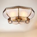 3/4 Bulbs Bowl Ceiling Mount Colonial Brass Mouth Blown Opal Glass Flush Light Fixture for Bedroom, 14