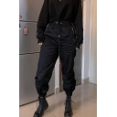 Cool Black Drawstring Waist Zipper Detail Cuffed Ankle Length Relaxed Tapered Pants for Female