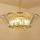 Crystal Panel Basket Chandelier Lighting Postmodern 6 Heads Gold Hanging Light Fixture