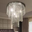 Tiered Flush Mount Ceiling Light Simple Crystal 4 Lights Living Room Black Flusmount Lighting