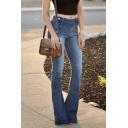 Women's Trendy Street Bleach Low Waist Button Side Slim Fit Long Flared Jeans in Dark Blue