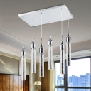Tube Shaped Cluster Pendant Contemporary Crystal 6 Lights Chrome Ceiling Light in Warm/White Light