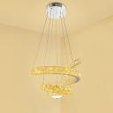 Spiral Ceiling Chandelier Modern Crystal LED Chrome Suspension Pendant Light for Living Room in Warm/2 Color Light
