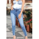 Sexy Ladies' Mid Rise Bleach Pearl Embellished Ankle Length Stretchy Tight Jeans in Light Blue