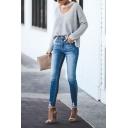 Fashion Ladies' Dark Blue Mid Rise Bleach Frayed Cuffs Stretchy Skinny Jeans