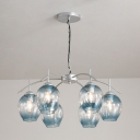 Bubble Suspended Lamp Stylish Faded Glass 6 Lights Chandelier Light with Chain Decoration