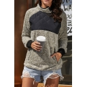 Womens Warm High Collar Oblique Button Down Long Sleeve Sherpa Fleece Casual Sweatshirt with Side Pocket