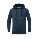 Mens Simple Letter Printed Whole Colored Long Sleeve Quick-Dry Drawstring Sports Outdoor Pullover Hoodie