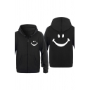 Popular Smile Face Pattern Long Sleeve Zip Up Casual Unisex Hoodie Coat with Pocket
