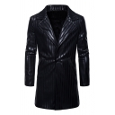 Mens Fashionable Striped Notched Collar Long Sleeve PU Leather Black Longline Jacket Coat