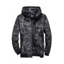 Mens Basic Camo Printed Long Sleeve Zip Up Black Sports Track Jacket Coat