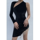 Womens Sexy One Shoulder Sleeve Backless Split Rhinestone Tassel Decoration Black Mini Party Dress