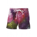 Fashion Summer Beach Drawstring Waist 3D Geometric Print Purple Swim Trunks for Men