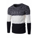Mens Classic Color Block Long Sleeve Round Neck Casual Knitted Pullover Sweater